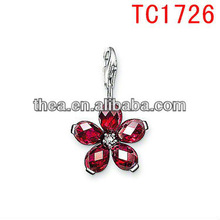 TC1726 bright garnet flower charm pendant&charm red-enamelled with lobster clasp