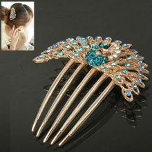 Peacock Retro Rhinestones Shape Decorated Hair Accessory/Hair Ornament/Hair Comb Headwear(Baby Blue)