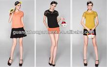 OEM chiffon t shirt with fasihon pattern with Lace collar