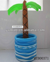 Inflatable palm tree pool buffet cooler