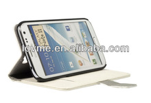 case for Stylish white Leather Wallet Flip Case for Samsung Galaxy Note 2 N7100 PC334W
