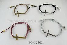 Simple style handmade unisex several colors cross handmade woven friendship red bracelet