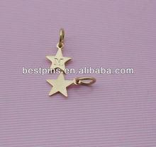 custom star shape metal tags/metal pendants/metal charms with engraved logo