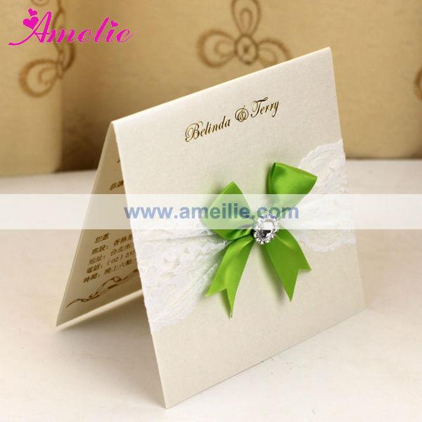 Aea301 fita verde cor do laço branco convites de casamento com pérola-Artigos para casamentos-ID ...