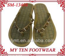 Gold Beaded Fashion Ladies Flip Flop Slipper Straw