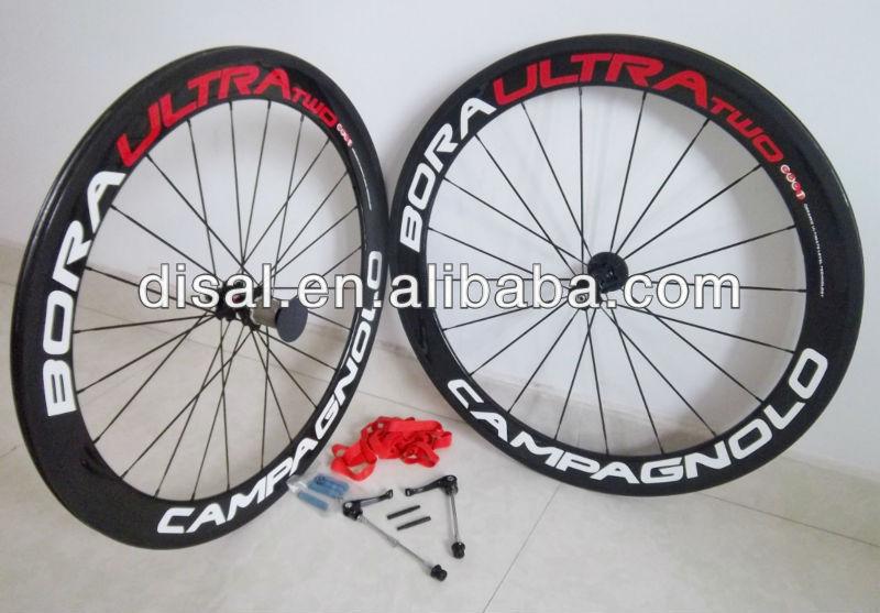 BORA ULTRA TWO 60mm carbon fibre clincher 3k 700c glossy wheels+Novatec hub+spokes+quick release