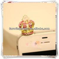 3.5mm Crystal Imperial Crown Anti Dust Earphone Plug Stopper Fit IPhone