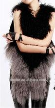 2013 new style of mongolian lamb sheep fur long vest combine color