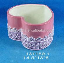 Ceramic heart shaped pen holder