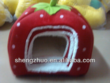 luxury plush straw berry removeable pet bed cushion dog bed in winter