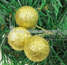 Shiny Gold Foam Mirror Christmas Ball With Crystal Flake, Plastic Christmas Mirror Ball