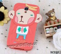 3D Cute Monkey Design Silicon Animal Cartoon Case for Samsung Galaxy S4 i9500.
