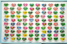 Wholesale cute charming Resin Lucite with paper Heart Shape Cartoon Children Rings,Girl's Gifts 100pcs/lot[KR12*100]