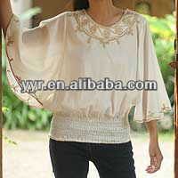 Fashion Indian Butterfly Cotton blouse, 'Cool Day'