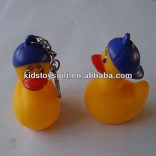 Promotinal lovely mini soft PVC baseball duck figures keychain toys for kids
