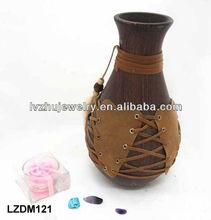 Decorative Native Indian wood Jar LZDM121