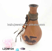 Decorative Native Indian wood Jar LZDM124