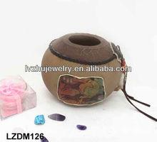 Decorative Native Indian wood Jar LZDM126