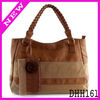 2013 fashion pu strip stitched large capacity canvas bucket tote bag braided handle
