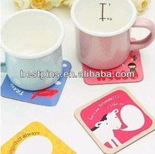 Whole Sale Table Decor Children Favor PVC Catoon Image Glass Cup Coaster Mat