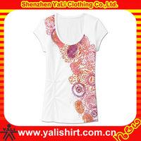 OEM short sleeve deep neck cotton beautiful sexy girl glitter t-shirts, t shirts manufacturers china