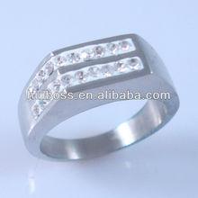 HBNR02269 Fashion Jewelry Flat Top 2 Rows Diamond Ring Bridal Ring