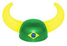 Mini Plastic Football Supporter Helmet With Brazil Flag Design Flag Helmet