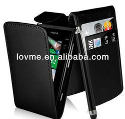 case for Nokia Lumia 800 Black Top flip PU Leather case