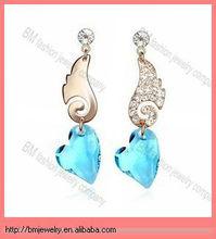 gold angel wing diamond love asymmetric earrings pendant jewelry