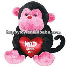 HI EN71 Cute Valentine Day Plush Monkey