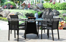 "Outdoor Patio Resin Wicker Stacking Arm Chair 5 PC Dining Set 49"" Round Table"