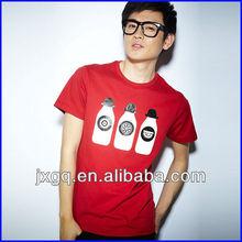 2013 high quality summer new design red men printing milk t shirt organic cotton clothing