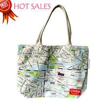 Custom MAP Fashion cotton zipper reusable shopping Tote Bag