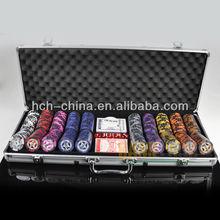 500pcs poker chip set in Silver aluminium case, rectangle corner