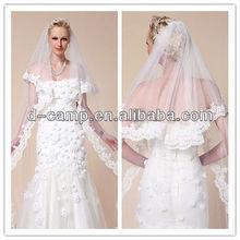 BV-002 Two-tier chapel length wedding veil bridal veil lace