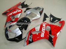 For Suzuki Gsxr 750 Gsxr 600 01-03 Black&Silver&Red Fairing Kit