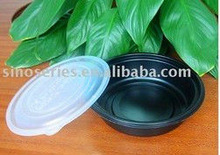 black tray or plastic bowl for fruit