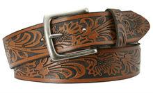 """Men's Western Leather Belt 1 1/2"""" Wide Brown Grey brand belts for men"""