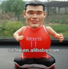 plastic sport star figurine car set toys;cool basketball man