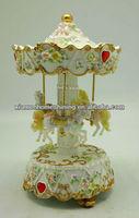 musical carousel customize rose themed polyresin carousel music box