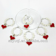 Pewter love heart wine glass charms wedding party favour