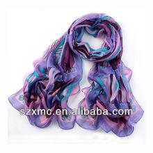 Fashion girls' silk solid long cheap chiffon scarf