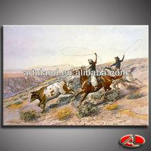 Western cowboy oil painting