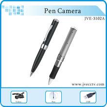 Hot sale pen JVE-3102A Silver/Black color pen camera Hot digital usb drive, video camera