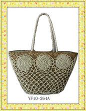 crochet straw tote bag for women