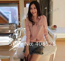 Korea Women's Candy Color Chiffon blouse Long Sleeve Button Down Shirt Shoulder Padded Tops 2 Colors 7482