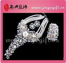 Luxury Jewelry Rhinestone Eardrop And Necklace Sets