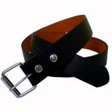 Black Genuine Leather Interchangable Belt engraved belt buckles for men On Own Buckle