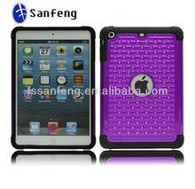 Good protective diamond skin cover for ipad mini/best shockproof case for ipad mini/for ipad tablet shockproof case purple&black