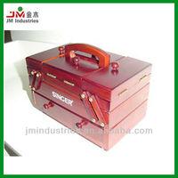 Folding Wood Sewing Kits Box with Handle